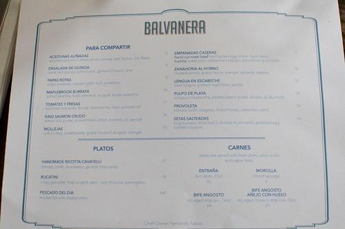 Balvanera's current menu