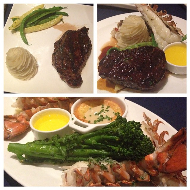 We were eating fillet #steak and #lobster for dinner. Not gonna lie, the deluxe #disneydining dining plan is awesome! #dinearounddisney2014 #day2 #tppb