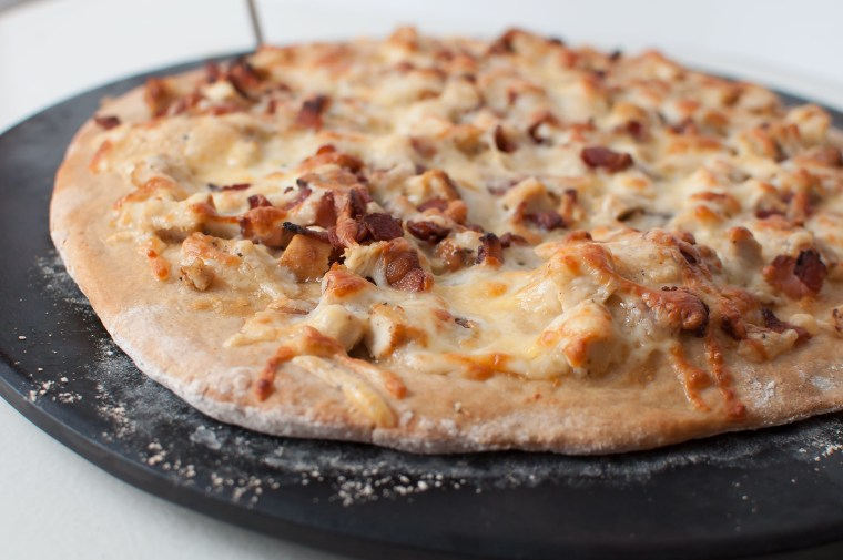 Roasted Garlic Chicken Bacon and Gouda Pizza 5