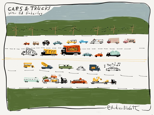 Cars and trucks. After Ed Emberley