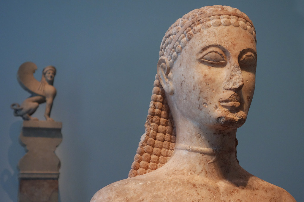 New York Kouros detail of head  Marble Statue of a