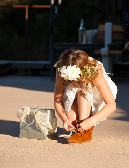 Erik & Kimmy - flower girl zara in charabia dress and moccasins