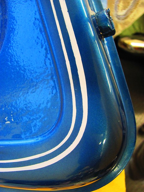Gas Tank After Pinstripe Clean Up Using Fine Line Tape and Lacquer Thinner