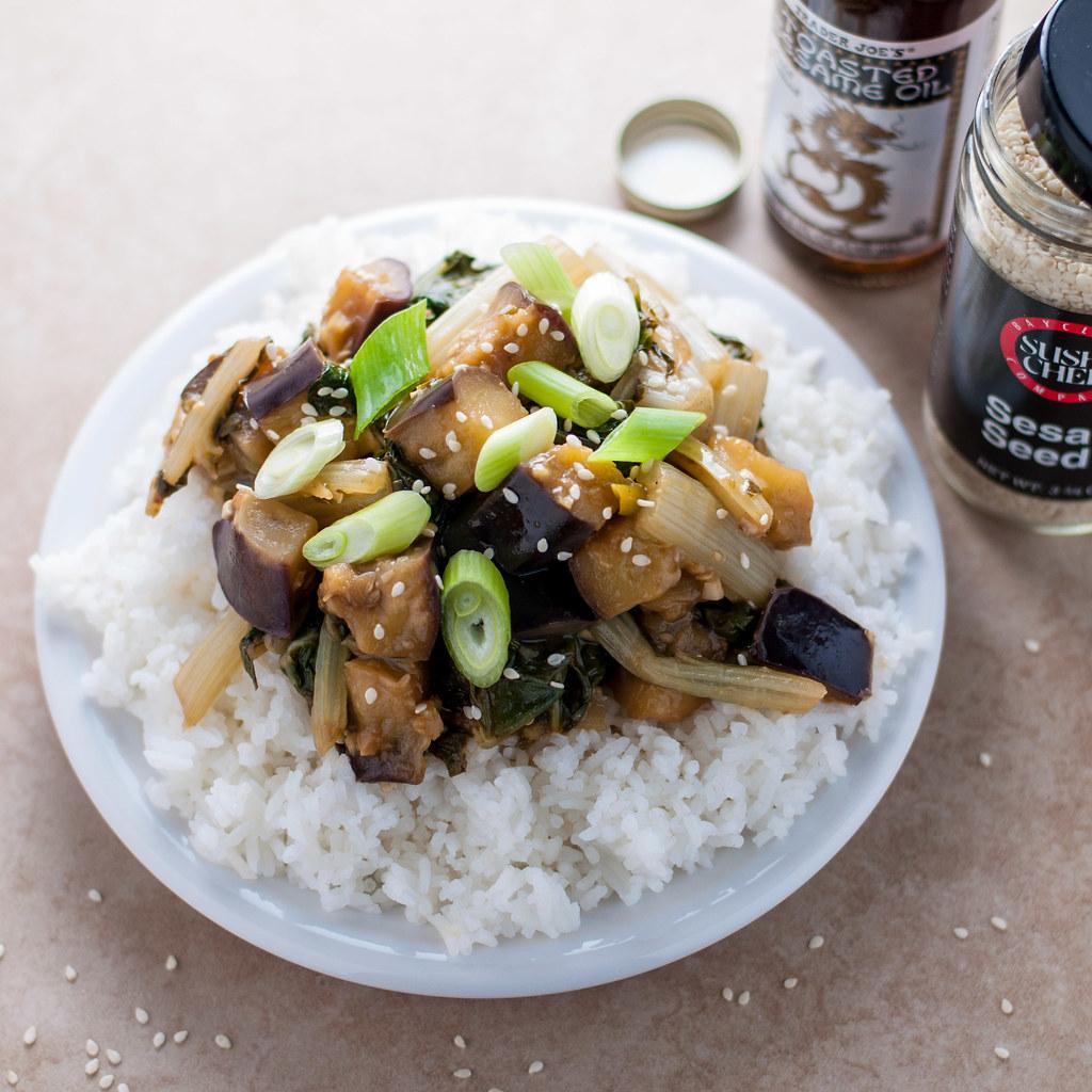Eggplant chard stir fry square