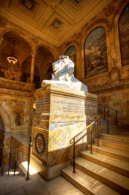 Louis Saint-Gaudens lion dedicated to the Twentieth Massachusetts Volunteer Infantry.