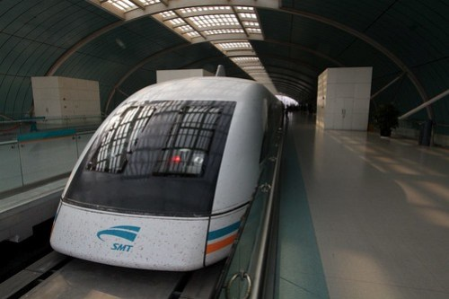 Maglev train awaiting departure from Longyang Road station