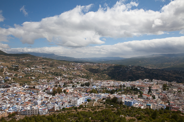 View of Chefchaouen Morocco from Hotel Atlas