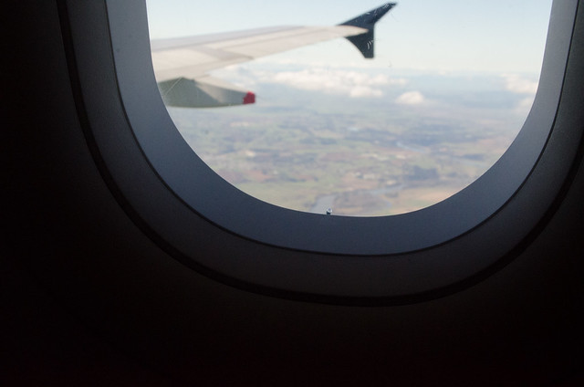 a hole on window in airplane