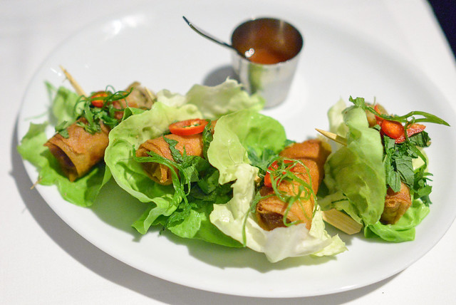 DUCK SPRING ROLLS GINGER-CHILE DIPPING SAUCE, MINT, CILANTRO