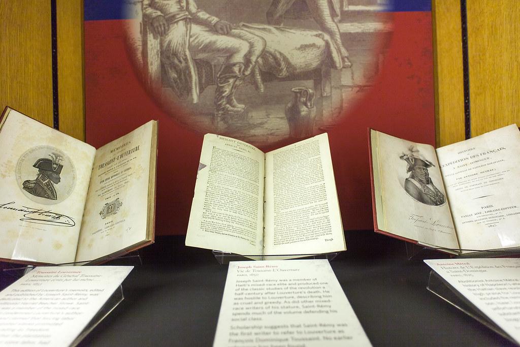 A display showing a few of John Adams' books.