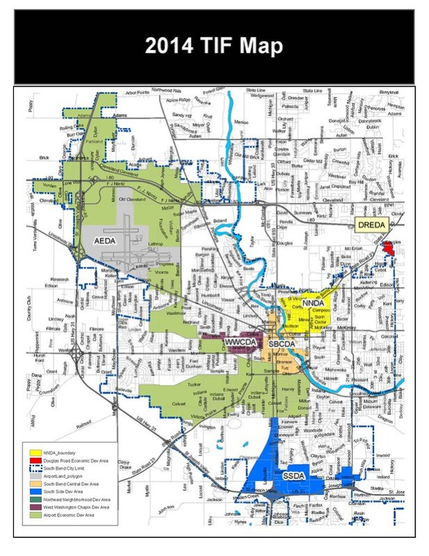 South Bend TIF Map 2014
