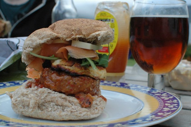 Smoked Salmon and Chorizo burger