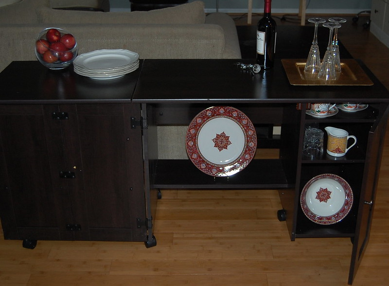 Sauder Sewing/craft Cart As A Buffet Table