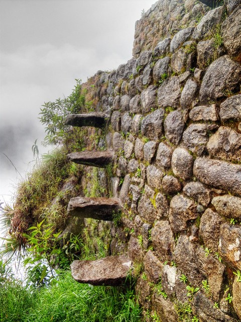 Crazy Stairs on the side of Huayna Picchu.