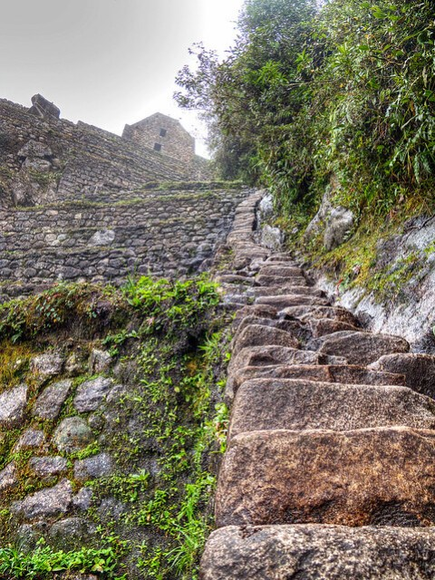 Stairs up Huayna Picchu.