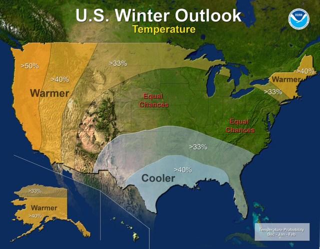 NOAA US Winter 2014 Outlook Temperature Map