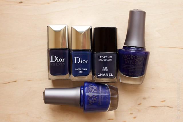 Dior #796 Carre Bleu comparison Dior 997 Blue Label, Chanel 631 Orage, Morgan Taylor   Polished Up Punk, Morgan Taylor   Deja Blue