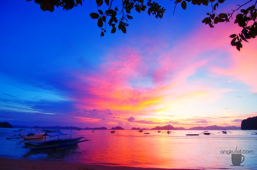 Sunset in Corong-Corong Beach, El Nido, Palawan, Philippines