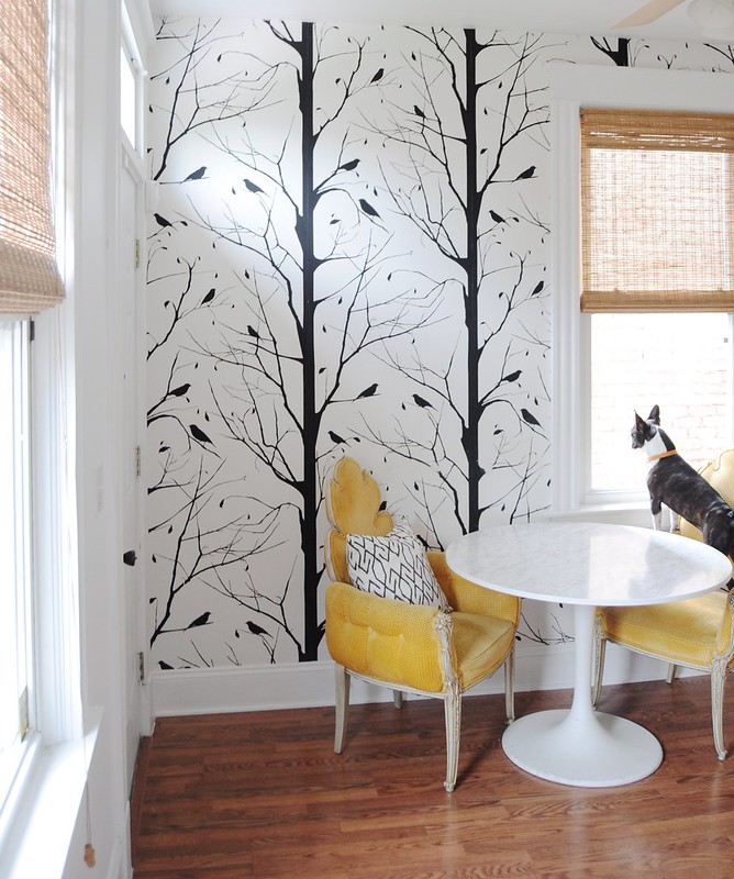 Dining Room Decor Breakfast Nook with Yellow Chairs Silhouette Tree Accent Wallpaper Dog Hardwood Floors