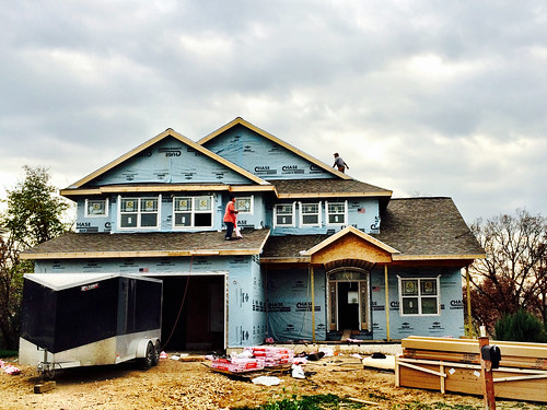 Shingles, end caps, and drywall: EXCITING DAY!