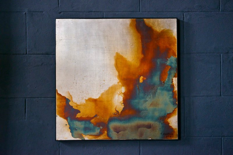 Oxidized silver leaf on lacquered plywood