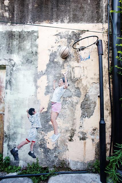 Kids Playing Basketball, Artist: Ernest Zacherevic.