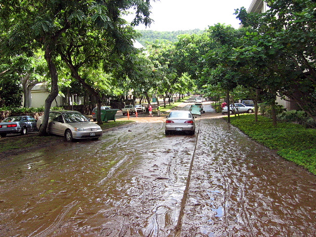 <p>Oct. 30, 2004—Swollen by heavy rain, Mānoa Stream overflowed its banks and raced through the University of Hawaiʻi at Mānoa campus.</p>