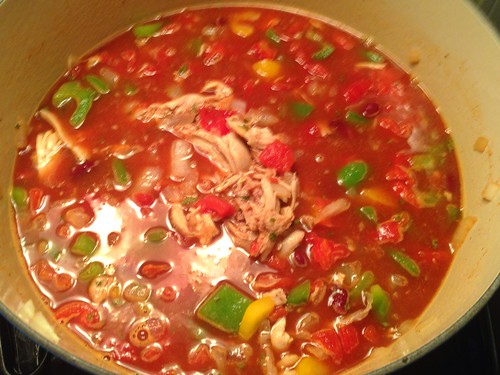 spicy chicken soup simmering