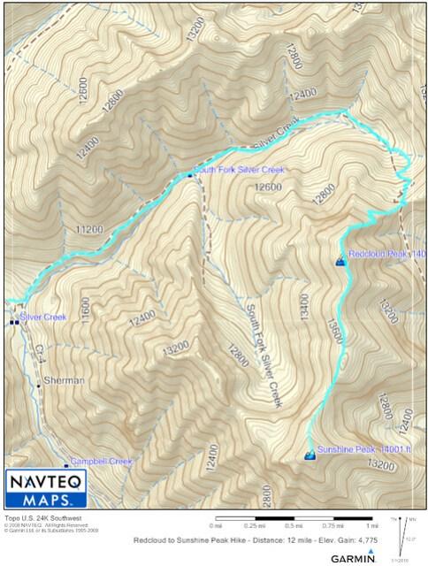 Redcloud to Sunshine Peak Map