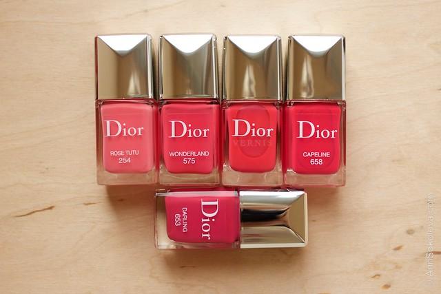 Dior #254 Rose Tutu comparison Dior #575 Wonderland, #178 Cosmo, #658 Capeline, #653 Darling