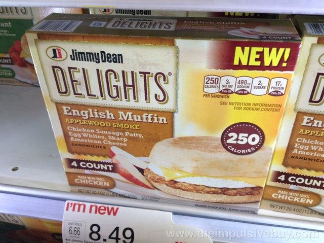 Jimmy Dean Delights English Muffin Applewood Smoke Chicken Sausage Patty Sandwich