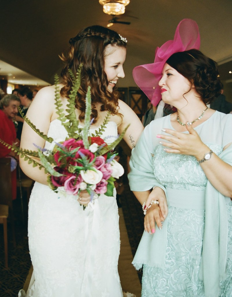 Mum walking me down the aisle at this Scottish Harry Potter wedding on @offbeatbride
