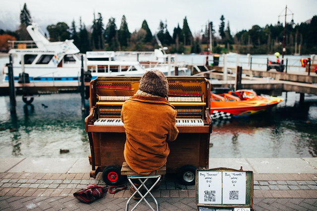 Piano man. Queenstown, New Zealand
