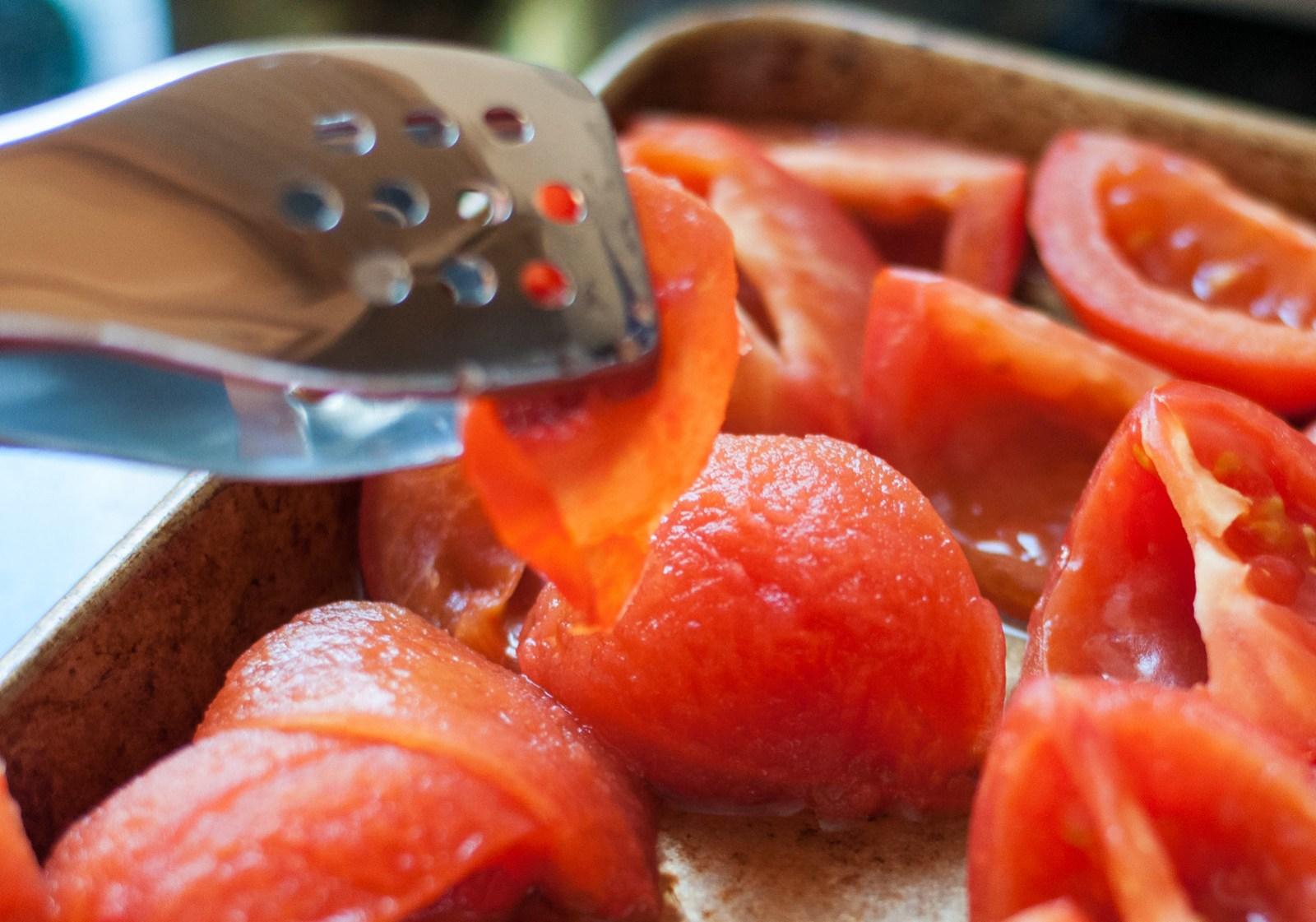 Peeling roasted tomatoes