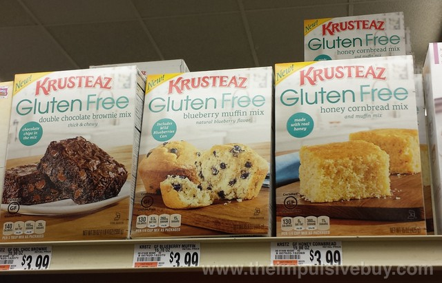 Krusteaz Gluten Free Double Chocolate Brownie Mix, Blueberry Muffin Mix, and Honey Cornbread Mix