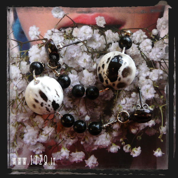 orecchini bianco nero - black white earrings LBBNKO