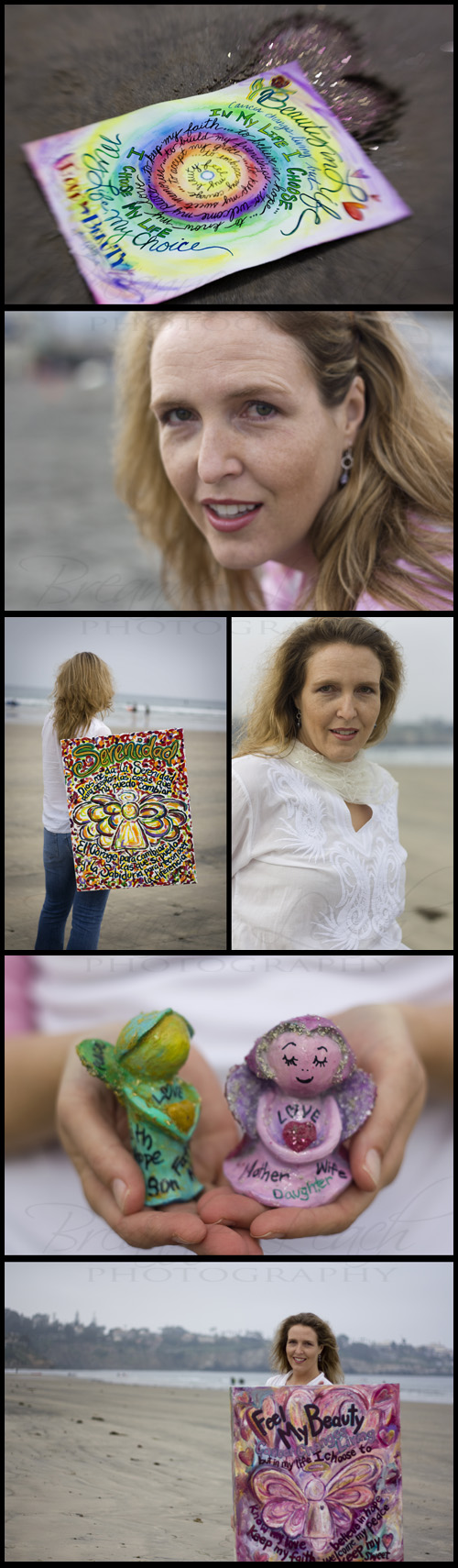 A collage of photos of DonnaBellas Angels art by founder Laurel Latto