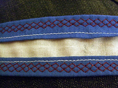 the inside of the straps.
