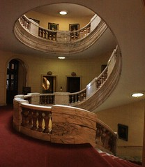 Photograph of the main staircase at the National Liberal Club, 2010.