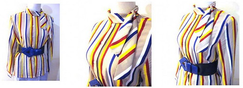 Vintage Blouse Primary Stripes