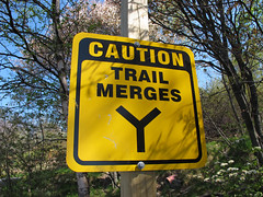 Trail Merges Sign
