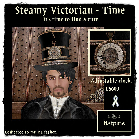 Hatpins Steamy Victorian - RFL Top Hat - Time R