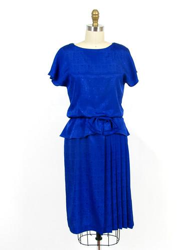 VINTAGE 1980's SIDE PLEATED SECRETARY DRESS