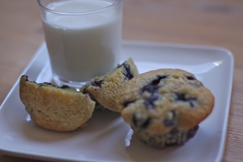 blueberry muffins, in process