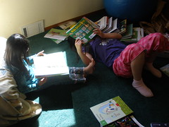Girls Reading on Box Day