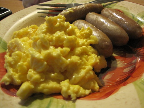Melissa's sausages with scrambled eggs