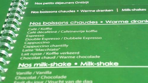 Belgian coffee menu