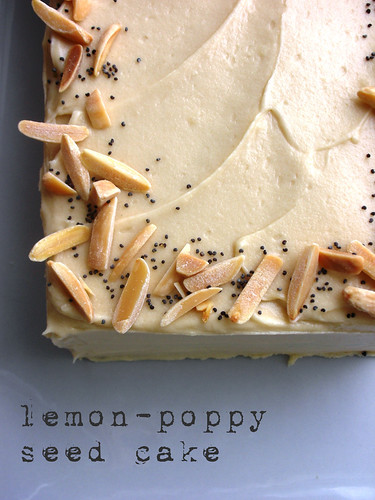 lemon-poppy seed cake with almond-cream cheese frosting