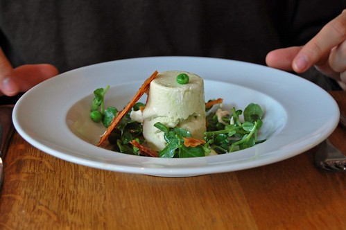 English Asparagus Parfait, Smoked Pancetta and Pea Salad, Black Pepper Vinaigrette