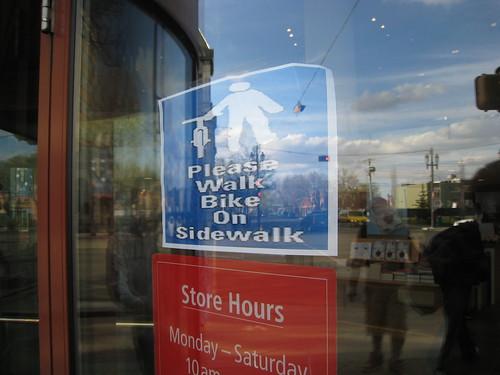 No cycling on sidewalk